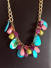 Beaded Necklace Gold Chain Trendy Blue Purple Pink Green MIXIT JCPenney 20 Inch