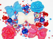 Red White Blue AB Big Flatback Bow Flower Resins Kawaii Cabochons Deco Bling Kit
