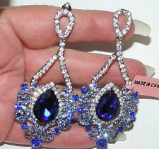 "Sparkling Blue Clear Austrian Crystal Drop / Dangle Earrings 2 7/8"" by 1 1/4"""