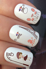 NAIL ART SET #655 x12 FRENCH GIORNI TORRE EIFFEL ADESIVO AD ACQUA DECALCOMANIE