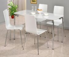 Fiji White Gloss and Chrome Dining Table + Matching Chairs - Also in Black!