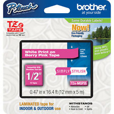 "Brother TZeMQP35 12mm 1/2"" white on berry pink TZ tape PT P750W E500 H500 H500LI"