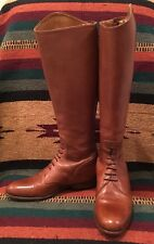 RALPH LAUREN Lt Brown Leather Lace-Up Zip Riding Field Boot 7B Italy Mint! RARE!
