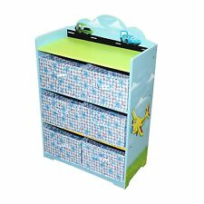 Hand Painted Blue Boy Cars Toy Shoes Storage Ogranis Box Bookcase Kids Furniture