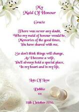 My Maid of Honour Poem A5 Photo