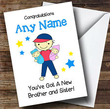 New Baby Twin Brother & Sister Boy & Girl Personalised Sibling Greetings Card