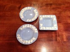 Three Wedgwood Embossed Queens Ware Smoking Trays White On Blue