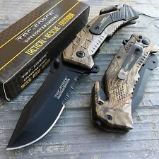 TAC-FORCE Sniper Inscription Camo Coated Tactical Rescue Pocket Knife
