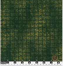 Quilting Fabric Gold Metallic Fleck Squares Dark Green Fat Quarter 100% Cotton