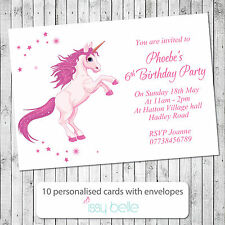 Personalised Childrens Birthday Party Invitations Thank You Card Unicorn