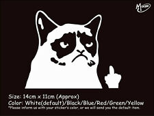 !GRUMPY CAT FINGER funny reflective CAR TRUCK STICKERS WINDOW DECAL BEST GIFT-