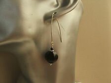 Long Drop Black Onyx & Spinel Sterling Silver Earrings Cosmic Rocks SALE
