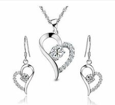 the sterling Silver crystal Heart Shape Set Earring and necklaces  in gift box