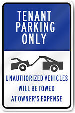 """Tenant only parking tow away zone 8"""" x 12"""" Aluminum Sign pre-drilled holes USA"""