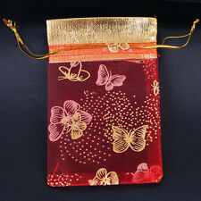 50pcs New Red Butterfly Printed Gold Pocket Bags Organza Fit Jewelry Packing L