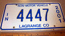 Indiana LICENSE PLATE 2001 NON-MOTOR VEHICLE Amish Buggy Plate, 4447, lagrange