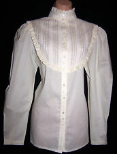 Laura Ashley Vintage Victorian ivory blouse pintuck yoke lace high collar 12 UK