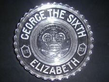 1937 George the Sixth Elizabeth Coronation Bowl Plate Clear Glass Scalloped Edge
