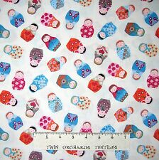 Russian Fabric - Matryoshka Doll Toss Cream C3766 - Timeless Treasures YARD