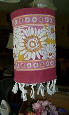 Pink, gold red hanging fabric shade, sunroom, floral tropical with tassels