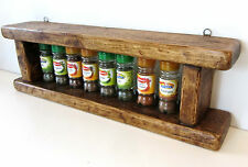 62CM HANDMADE DISTRESSED PLANK WOOD RUSTIC BROWN WAXED SPICE RACK KITCHEN SHELF