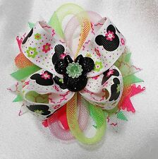 SALE - MINNIE MOUSE FLOWERS- BOUTIQUE BOW-CHILD,GIRLS,TEEN,WOMEN - HANDMADE