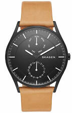 Men's Skagen Holst Multifunction Brown Leather Watch SKW6265