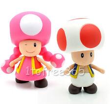 """Lot 2 Super Mario Bros Pcs 4"""" TOAD TOADETTE Figure MR72"""
