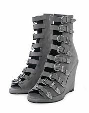 NWB CHLOE SEVIGNY x OPENING CEREMONY Buckle Wedge Boots Grey Suede 38 acne RARE