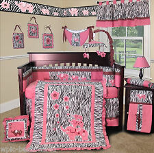 Baby Boutique - Pink Zebra - 15 pcs Nursery Crib Bedding Set