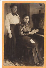 Real Photo Postcard RPPC - Two Women Reading Letter at Piano - Music Musician