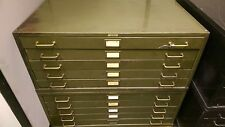 TWO 5 DRAWER LYON BLUEPRINT FILE CABINET ARCHITECTURAL FLAT FILES ART w/TOP