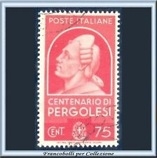 1937 Italia Regno Uomini Illustri Pergolesi cent. 75 carminio n. 431 Usato