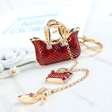Two Red Handbag High Heel Shoe Fashion Cute Accesories Crystal Key Chain Gift