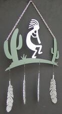 Kokopelli with Cactus and Feathers Windcatcher Plasma Cut Metal Art