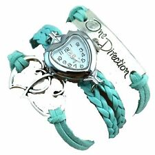GirlZ! One Direction multilayer leather Heart bracelet with watch - Light Green