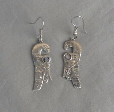 Vintage NW North West Coast Drop Dangle Silver Abalone Bird Earrings