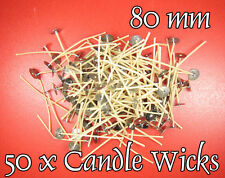 SALE - 40% ! 50 x CANDLE Cotton WICKS 80mm PRE WAXED, Stoppini per Candele