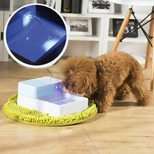 LED Automatic Pet Water Drinking Filter Fountain Bowl For Dogs Cats Kitten US