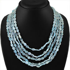 355.00 CTS NATURAL RICH BLUE AQUAMARINE 5 STRAND OVAL SHAPED BEADS NECKLACE