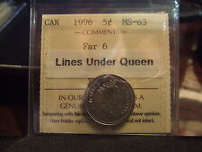 CANADA FIVE 5 CENTS 1996 FAR 6, LINES UNDER QUEEN ICCS MS-63 !!!!!