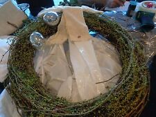 """Pottery Barn Faux Easter Eggand Moss faux  Mercury Glass Wreath 20"""" Issue New"""