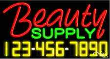 "NEW ""BEAUTY SUPPLY"" W/YOUR PHONE NUMBER 37x20 NEON SIGN W/CUSTOM OPTIONS 15048"