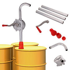 Rotary Alloy Oil Fuel Hand Pump Drum Bowser Barrel 3 Piece Pipe Aluminium Syphon