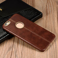 Brown Luxury Retro Premium Leather Slim Back Cover Case Skin For iPhone 7 S001