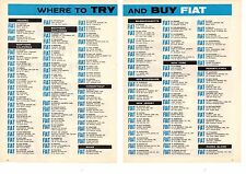 1958 FIAT / WHERE TO TRY AND BUY ~  NICE ORIGINAL 2-PAGE PRINT AD