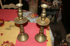 Stunning India Middle Eastern Brass Metal Candle Stick Holders-Pair-Engraved