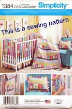 SIMPLICITY SEWING PATTERN 1384 BABY QUILT COT SHEET DUST RUFFLE VERTICAL BUMPERS