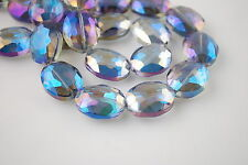5p Blue Colorized Glass Crystal Faceted Flat Oval Bead 20x16mm Spacer Findings