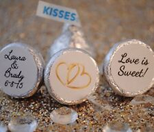 108 Love is Sweet, Double Hearts Personalized Hershey Kiss Stickers Favors